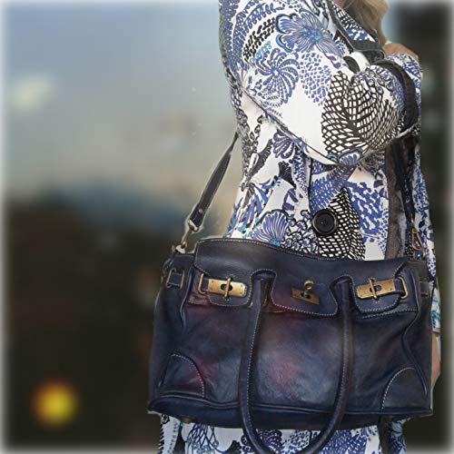 Poignée Grand Bandoulière Sac Élégante Pour Femme Et Bleu Jeune Format Modèle En Vintage Amazonita Fabriqué Baroni Massima Fille Cuir Italie Femme gwxv6