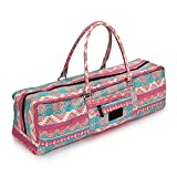 DOHOT Cotton Canvas Yoga Mat Bag with Pocket & Zipper for Yoga Mat and Gym Mat up to a 26 Inch Wide Mat, Pink Pattern