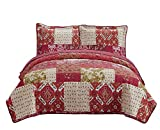 Oversized Bedspreads for King Size Beds Fancy Collection 3pc Bedspread Bed Cover Floral Beige Red Green Brown Burgundy #51 King/California King Over Size 118
