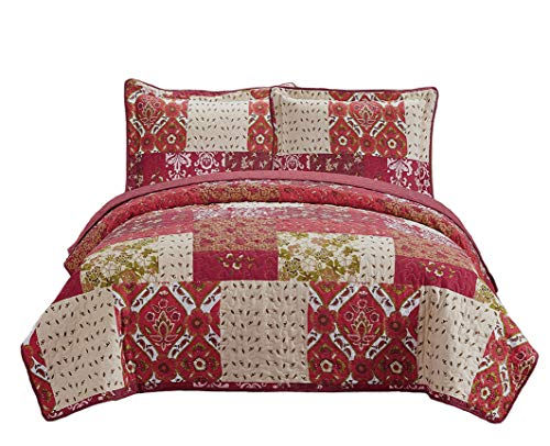 Fancy Collection 2pc Bedspread Bed Cover Floral Beige Red Green Brown Burgundy New Twin /Twin Extra Long # 51 ()