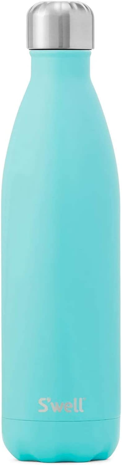 S'well Stainless Steel Bottle-17 Fl Oz-Turquoise Blue Triple-Layered Vacuum-Insulated Containers Keeps Drinks Cold for 41 Hours and Hot for 18-with No Condensation-BPA Free Water Bottle, 17oz
