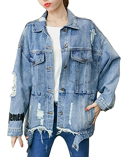 Di Strappato Jeans Giacca Retro Blu Jeans Giacca Lunga Casual Cappotti Donna Manica Vintage Giacca 0wYv8n