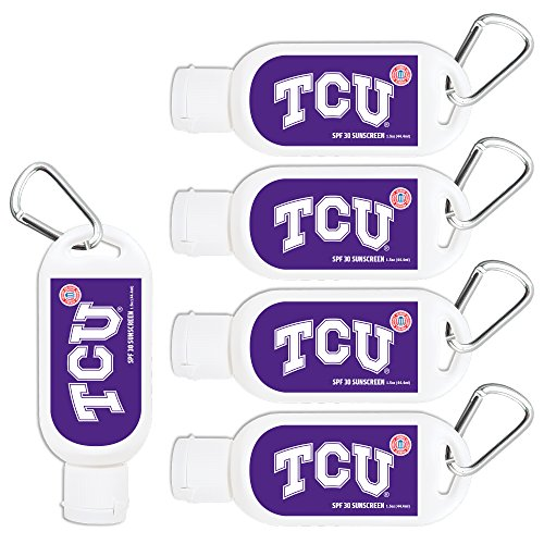 Texas Christian Horned Frogs Sport Sunscreen 5-Pack SPF 30 Travel Size with Clip, Water and Sweat Resistant 80 Minutes, UVA UVB Protection. NCAA Gifts for Men and Women.
