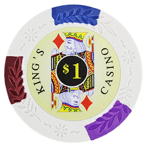 Brybelly King's Casino Premium Poker Chip 14-gram Heavyweight Clay Composite – Pack of 50 ($1 White)