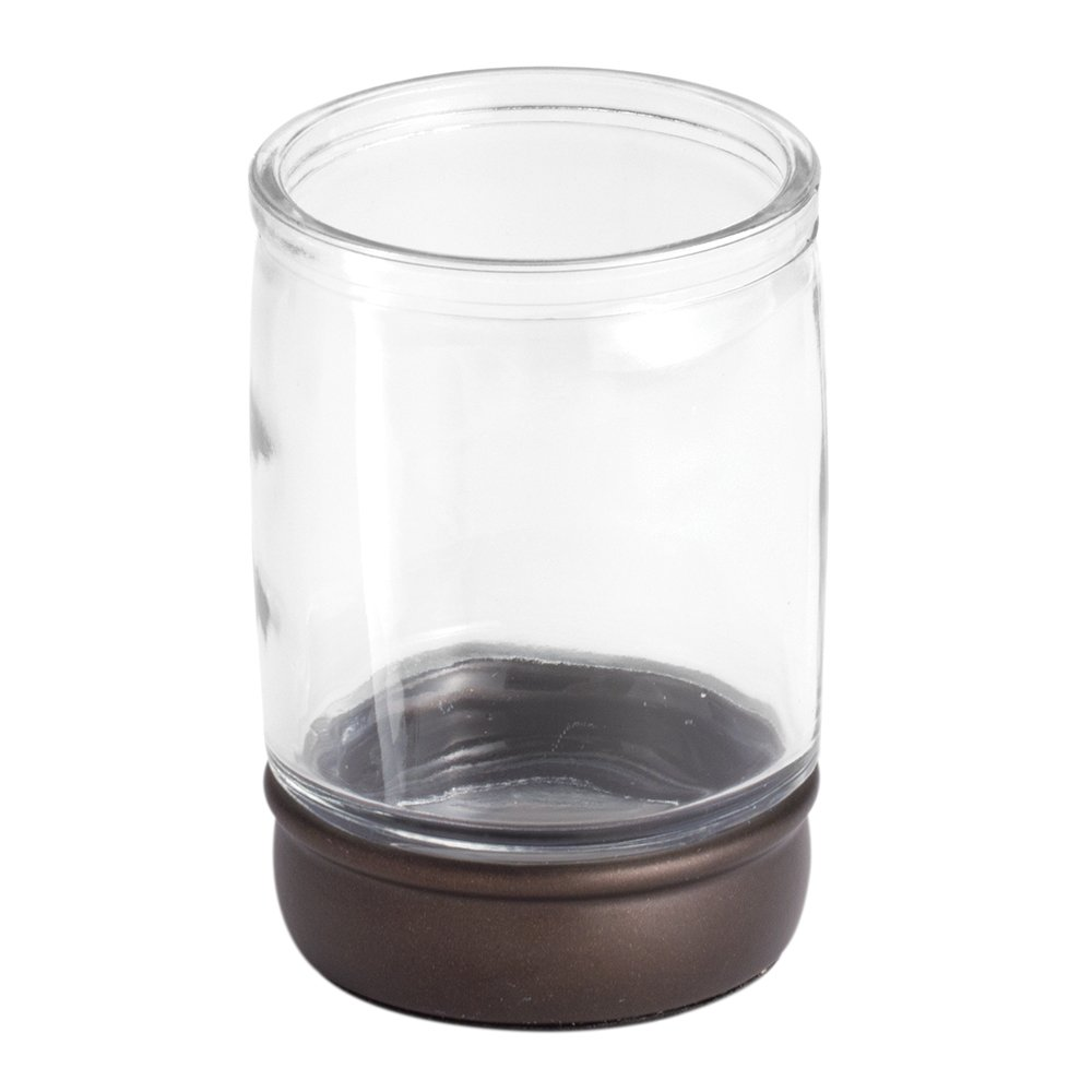 InterDesign Hamilton Bathroom Vanity Glass Canister Jar for Cotton Balls, Swabs, Cosmetic Pads - Clear/Bronze Inc. 70821