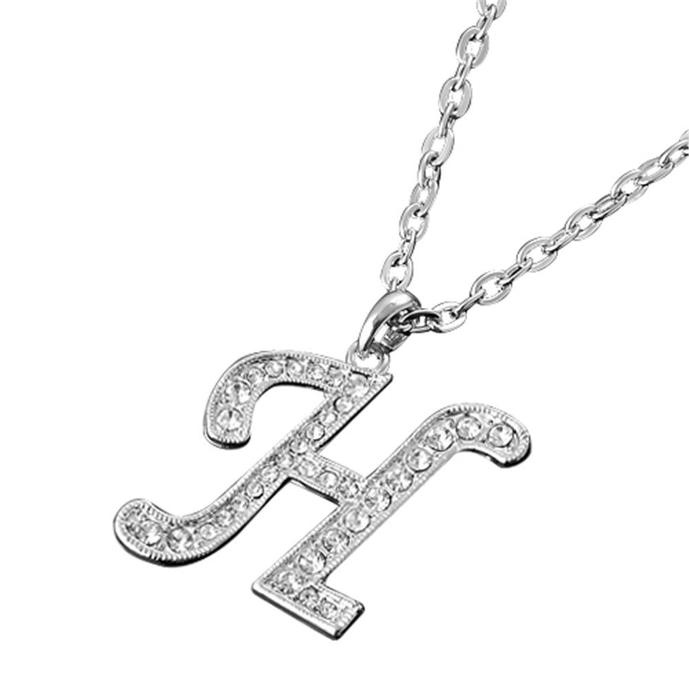 MGStyle Pendant Necklace For Men Or Women - Capital Initials Letter H - Silver Tone - Rhinestone & Alloy with Deluxe Gift Box