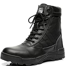 Be Dreamer Military Boots Men's Tactical Boots Original S.W.A.T. Leather Side Zip Combat Work Boot