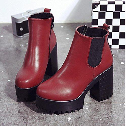 Botas Mujer,Ouneed ® Botas de cuero de las mujeres de la manera Plataforma del talón del cuadrado zapatos altos de la bomba Rojo