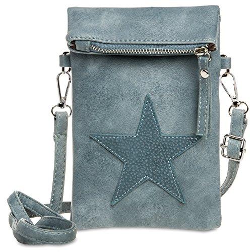 Caspar Ts1027 Small Shoulder Bag For Women With Blue Cowboy Star Overstitched