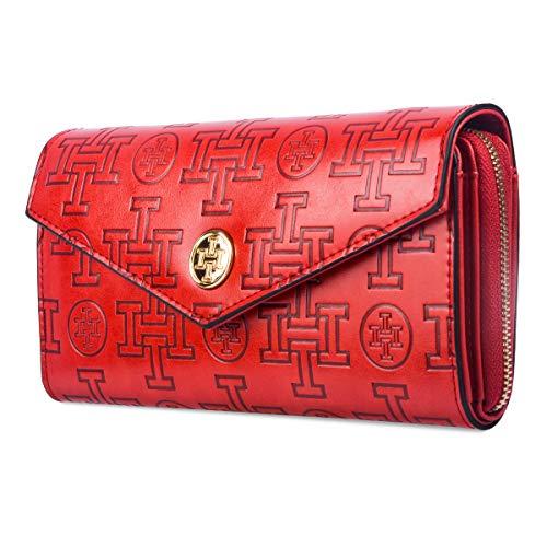 - Wallet for Women, i5 Stylish Clutch Purse Wristlet Designer Girls Fashionable Long Card Cash Luxury Classic Shopping Holder Zipper Bag (red)