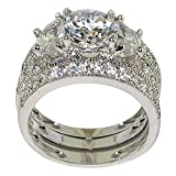 Antique Half-moon-shape 4.21 Ct. Milgrain Cubic Zirconia Cz Bridal Engagement Anniversary Wedding Ring Set (Round-shape Center Stone Is 2 Cts) (9)