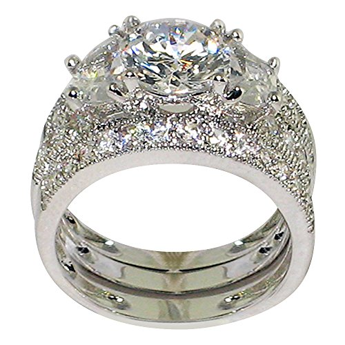 Sets Antique Wedding (Antique Half-moon-shape 4.21 Ct. Milgrain Cubic Zirconia Cz Bridal Engagement Anniversary Wedding Ring Set (Round-shape Center Stone Is 2 Cts) (6))
