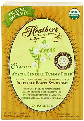 Heather's Tummy Fiber Organic Acacia Senegal Travel Packets for IBS, 25 Count