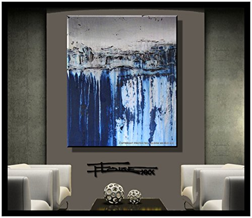 ELOISE WORLD STUDIO - ELOISExxx Abstract Oil Painting, Canvas Wall Art, Blue, Framed, Limited Edition Giclee, 36in. Direct from Artist - WATERBORNE