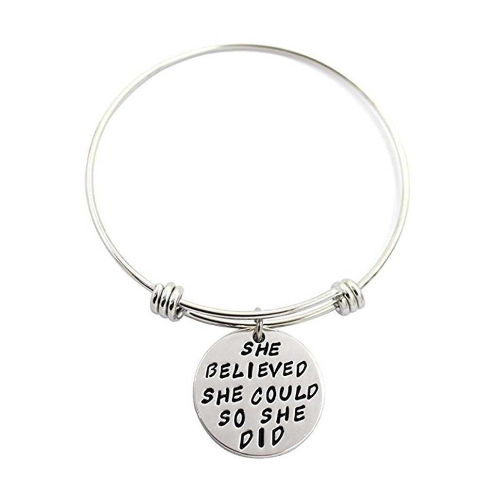 3 Sets Silver Plated Stainless Steel Metal Engraved Motivational Round Charm Pendant Adjustable Bracelets by SMARTWALLSTATION (Image #4)