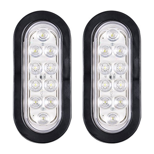 Bright White 6000K Oval 10 LED Clear Lens Backup Reverse Fog Light Bulb Grommet Plug Car Truck Trailer RV UTE UTV Boat Vans (2 pcs)