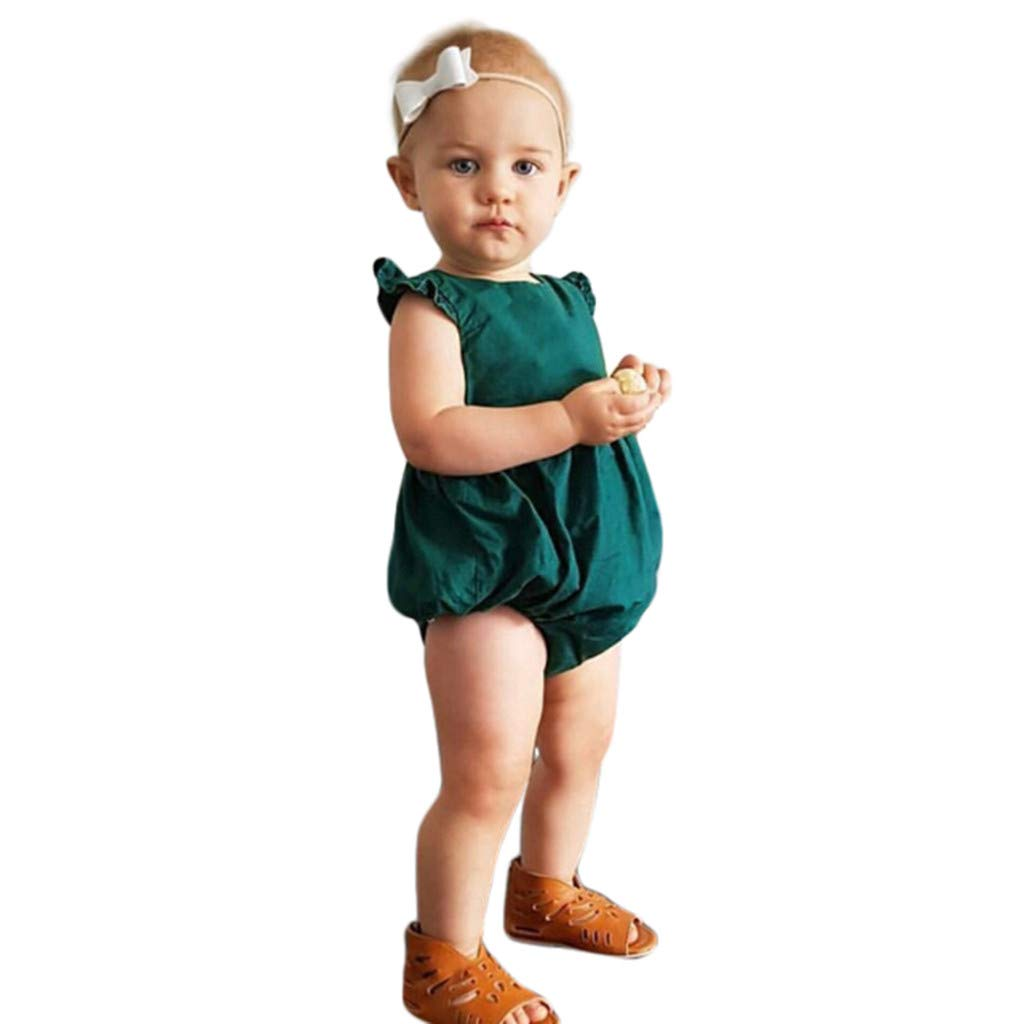 Toddler Baby Boy Girl Short Bodysuit, Solid Cotton Ruffle Short Sleeve One Piece Jumpsuits Set (Green, 3-6 M)