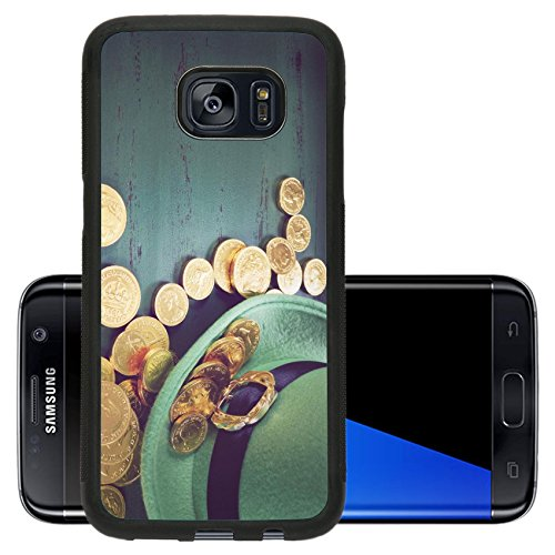 Luxlady Premium Samsung Galaxy S7 Edge Aluminum Backplate Bumper Snap Case IMAGE 36455373 Happy St Patricks Day leprechaun hat with gold chocolate coins on vintage