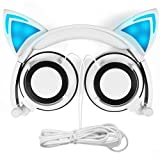 Cat Ear Headphones,SNOW WI Flashing Glowing Cosplay Fancy Cat Headphones Foldable Over-Ear Gaming Headsets Earphone with LED Flash light for iPhone 7/6S/iPad,Android Mobile Phone,Macbook (white)