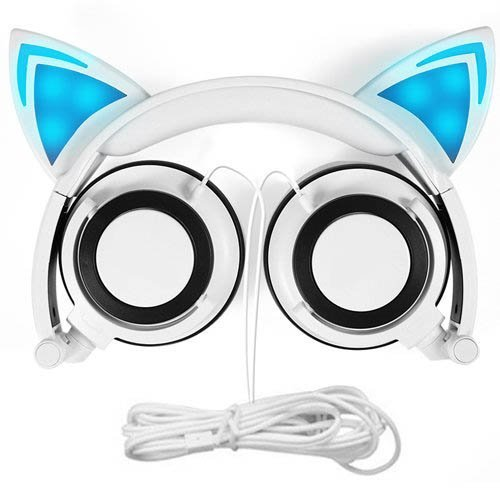 Cat Ear Headphones, GOGOING Kids Headphones with LED Flash Wired mode, Foldable game Headset fit Smartphones iPhone, Android Mobile Phone,Tablet PC, Computer Exc(White)