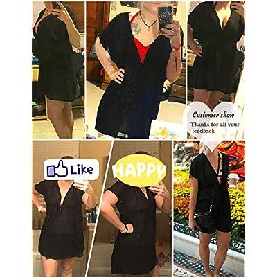 Avidlove Bikini Coverup for Women Beachwear Chiffon Kimono Swimsuit Short Sleeve Shirt at Women's Clothing store