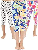 WEWINK PLUS Girls Toddler Leggings Capri Pants 3 Pack Stretchy Printing Flower Classic Leggings for Kids (Style E Capri, 6-7 Years)