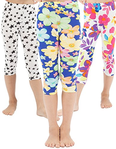 WEWINK PLUS Girls Toddler Leggings Capri Pants 3 Pack Stretchy Printing Flower Classic Leggings for Kids (Style E Capri, 4 Years)