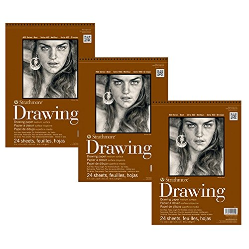 Strathmore 400-5 400 Series Drawing Pad, 11''x14'' Wire Bound, 24 Sheets (3 Pack) by Strathmore
