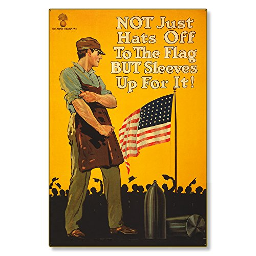 Large Metal Wall Decor : WWI Vintage Poster Art, Sleeves Up