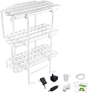 Hydroponic Growing System Gardening Grow Salad Kit, 108 Plant Holes 3 Layers 12 PVC Pipe with Pump, Timer, Sponge, Net Pot, Tutorials for Vegetable Soilless Cultivation with Fertilizer