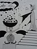ORIGINAL DRAWING - Black Waterproof Ink FANTASY DRAWING on Heavy STRATHMORE White Paper - SIZE:12''x9'' - Signed by the Artist -- ONE-OF-A-KIND