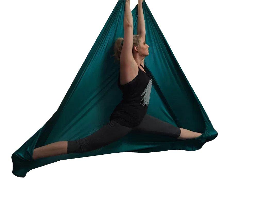 Aerial Yoga Hammock 5.5 Yards Premium Aerial Silk Fabric Yoga Swing for Antigravity Yoga Inversion Include Daisy Chain,Carabiner and Pose Guide (Dark Green)
