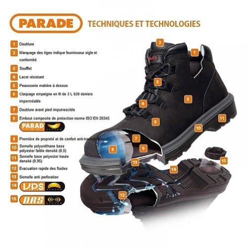 Parade 07jogo * * 7834zapatos de seguridad de alta negro, Negro, 07JOGO**78 34 PT39