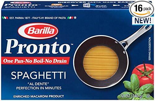 Barilla Pronto Pasta, Spaghetti, 12 Ounce (Pack of 16)