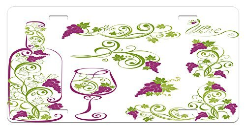 - zaeshe3536658 Wine License Plate, Wine Bottle and Glass Grapevines Lettering with Swirled Branches Lines, High Gloss Aluminum Novelty Plate, 6 X 12 Inches.