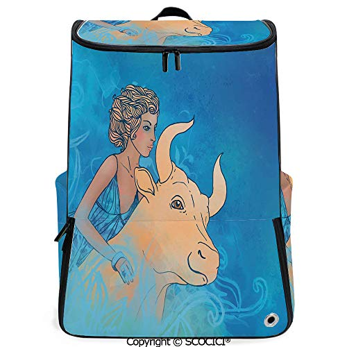 SCOCICI Multi Pocket Backpack,Bull and Muse Spiritual Beauty Spring Season Elegance Horoscope Motif Decorative,Violet Blue Sand Brown,Daypack for Men/Women ()
