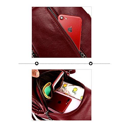 (JVP1066-R) Luc Sheep mochila de cuero resistente al agua Cute 5 colores de cuero natural bolso de gran capacidad para las niñas Fashion Fashion Bag ligero mochila Commuter School Oro