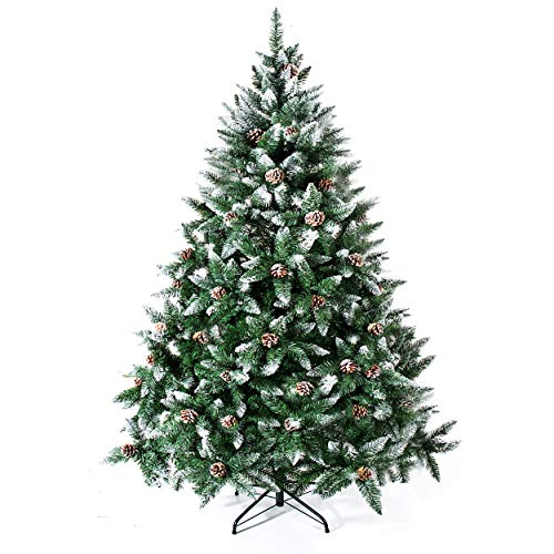 Senjie Artificial Christmas Tree 6,7,7.5Foot Flocked Snow Trees with Pine Cone Decoration Unlit (Flocked Tree Christmas)