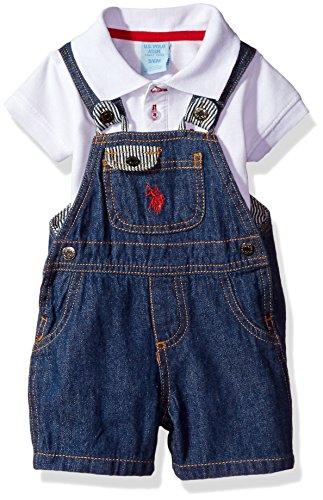 Shortall Blue - U.S. Polo Assn. Baby Boys' 2 Piece Shirt and Shortall Set, Blue, 6/9M