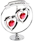 40th Anniversary Silver Plated Keepsake Gift with Red Swarvoski Crystal Elements By Haysom Interiors