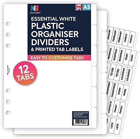 NBplanner®, 12 transparente Trennblätter aus Kunststoff und durchsichtige Etiketten, passend für englische Planer A5
