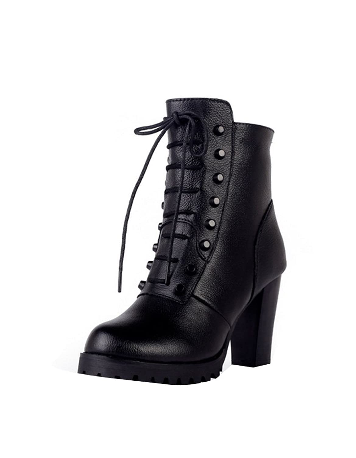 Ashlen Women's Black Chunky Mid Heel platform Lace Up Leather Ankle Booties