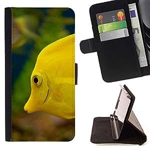 For LG G2 D800 Case , Amarillo Mar Submarino Vida Verde- la tarjeta de Crédito Slots PU Funda de cuero Monedero caso cubierta de piel