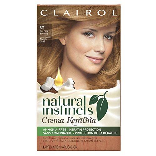 Clairol  Natural Instincts Crema Keratina Hair Color Kit, Golden Blonde 8G Honey (Blonde Creme)