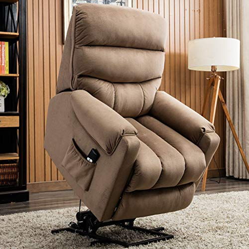 - CANMOV Electric Power Lift Recliner Chair Comfortable Antiskid Fabric for Elderly with Remote Control, Heavy Duty Reclining Mechanism Living Room Sofa Chair, Light Brown