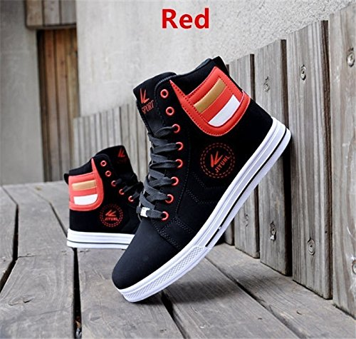 Image of tazimall Mens Round Toe High Top Sneakers Casual Lace Up Skateboard Shoes Newest Style(3 Colors)