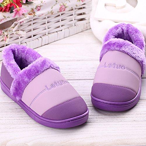 LaxBa Femmes Hommes chauds dhiver Chaussons peluche antiglisse intérieur Cotton-Padded violet Chaussures Slipper40/41 (recommandé 39-40 pieds porter