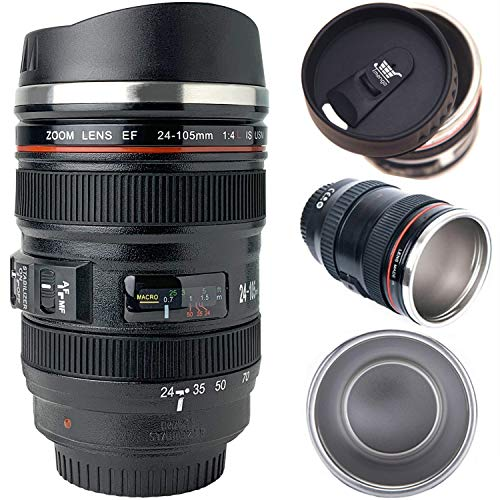 Tmango Camera Lens Coffee Mug with Retractable Lid, Stainless Steel Photo Coffee Cup, 13.5-Ounce for Photographer Lovers…