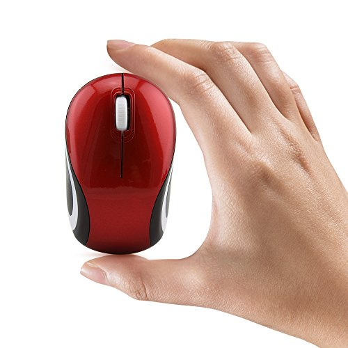 Mini Small Wireless Mouse for Kids Children 3-7 Years Old Child Size Optical Portable Mini Cordless Mice with USB Receiver for Laptop Computer (Red)