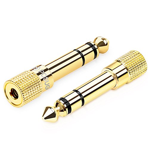 1/4 to 3.5mm adapter, Posugear 6.35mm (1/4 inch) Male to 3.5mm (1/8 inch) Female Gold Plated Stereo Headphone Audio Adapter - 2 Pack